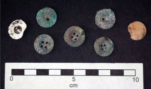 Some of the buttons, with a Hobday button is in the centre. Image: K. Watson.