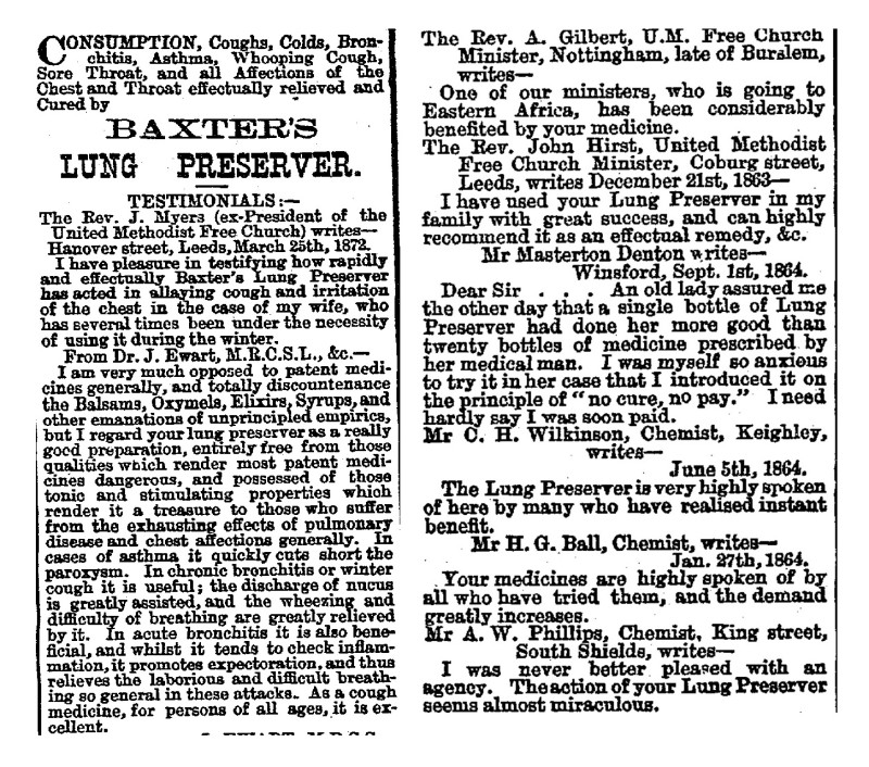Testimonials for Baxter's Lung Preserver, Press 4/10/1883.