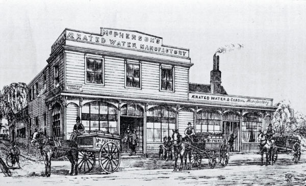 An 1885 sketch of McPherson's Aerated Water Manufactory on the corner of Worcester Street and Cambridge Terrace. Image: Christchurch City Libraries, File Reference CCL PhotoCD 12 IMG0064. Source: Lyttelton Times, 28 June 1851, p. 3.