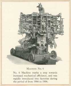 Image of the Owen's Automatic Bottling Machine, #6. Michael Owen's invention, patented in 1904, was the first fully automated   bottle making machine and paved the way for the 20th century machine made bottle industry. Image: Walbridge 1920, taken from Lindsey 2010.