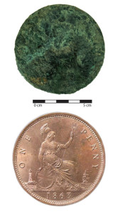 A Victorian penny minted in 1863. The top image shows the penny found in Christchurch, while the bottom image shows a cleaner example of an identical coin. Image: J. Garland.
