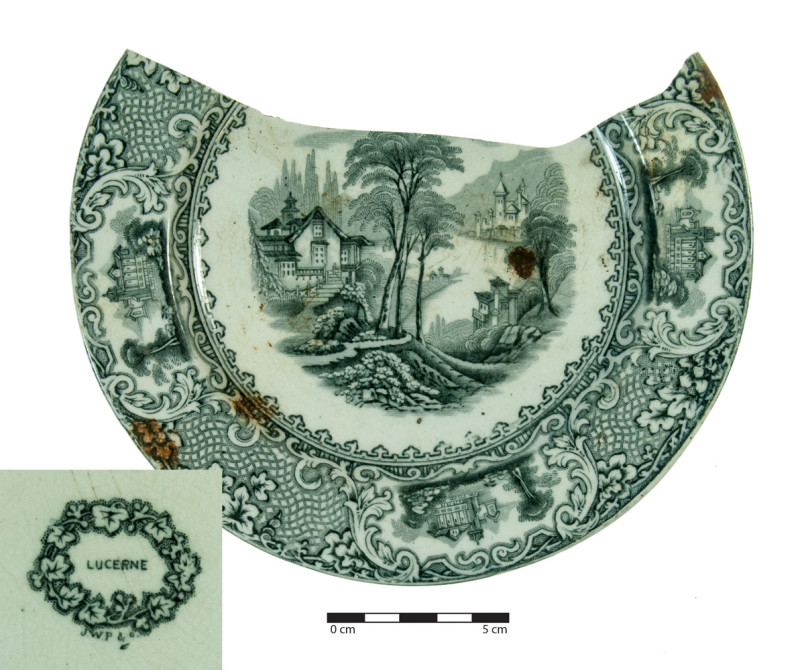 A side plate transfer printed with the 'Lucerne' pattern. This plate was made by ....