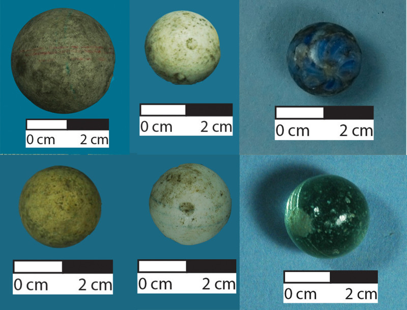 A selection of marbles found on an archaeological site in Christchurch. Image: L. Davies .