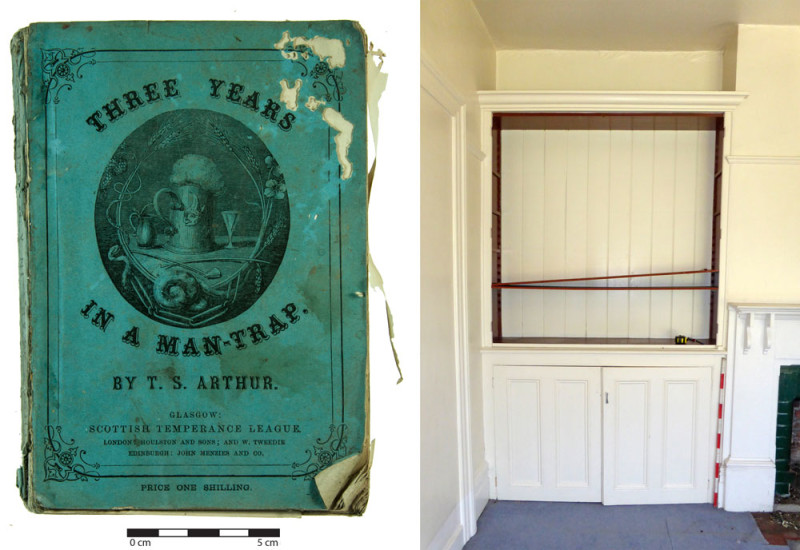 This book published by the Scottish Temperance movement in 1877 was found behind the tongue and groove lining in a house in Ashburton.