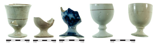 Eggcups found on an archaeological site in Christchurch. Image: J. Garland.