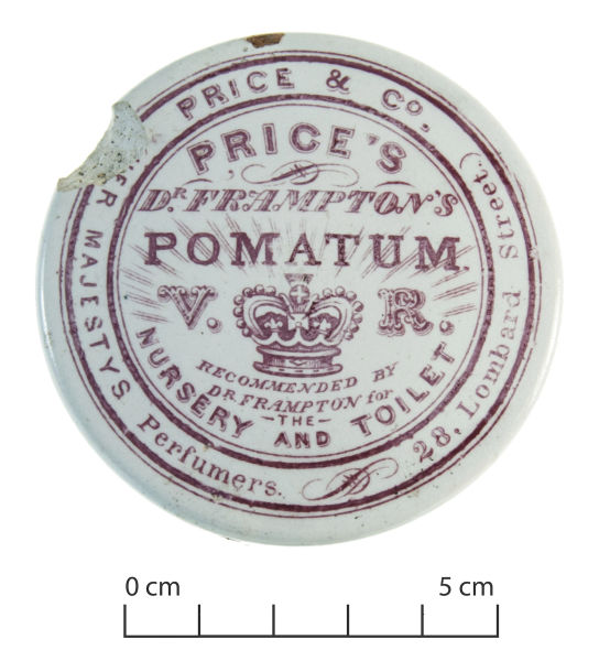 "Dr Frampton's Pomatum, by Price & Co., Her Majesty's Perfumers. For those with unruly hair, unhealthy hair or hair that just won't stay on the head at all. Pomatum was a common hair product during the 19th century and well into the 20th century (also known as pomade). It was usually made of a scented grease or lard and used to smooth down the hair (or moustache, presumably). Articles towards the end of the century, when the use of pomatum had become slightly less widespread, speak disparagingly of resulting ""locks saturated with strongly-scented grease"" (Nelson Evening Mail 19/10/1882: 4). Image: J. Garland."