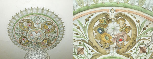 A painted ceiling rose. Image: K. Webb.