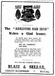 Figure 2. Advertisement for a sad iron with a removable handle. Image: Hawera & Normanby Star 19/9/1916: 6.