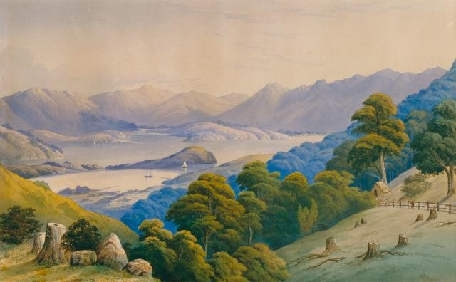 Figure 5. It's going down, I'm yelling timber. Image: John Barr Clarke Hoyte. 1835. Akaroa Harbour. Te Puna O Waiwhetu Christchurch Art Gallery.
