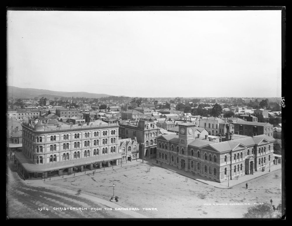 Christchurch from the Cathedral Tower, 1880s, by Burton Brothers studio. Image: Te Papa (C.011509).