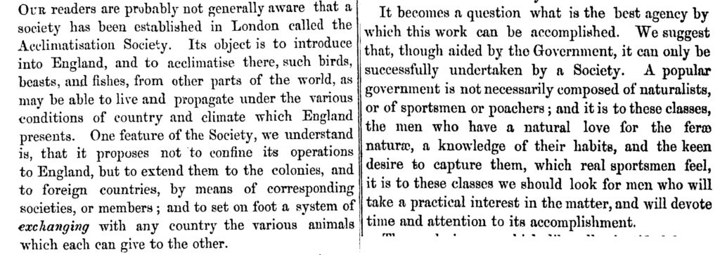 Excerpts from a letter about a proposed Acclimatisation Society in Canterbury.