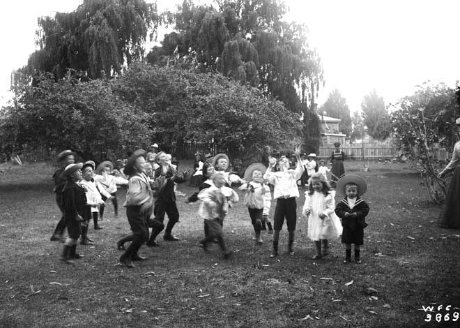 Lolly scramble at a 1880s child's birthday party. Image: W. Crawford. Lolly scrambles were common at community picnics and children's birthday parties (Swarbrick 2016).