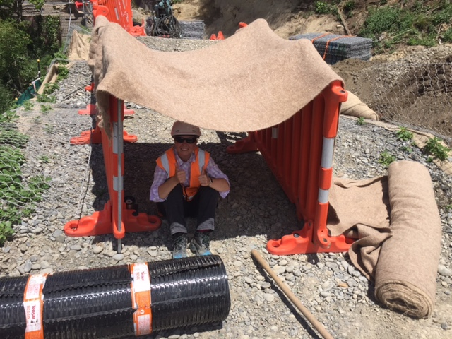 During the 30 degree heat of summer, a Fulton Hogan crew built Teri a sun-shade.