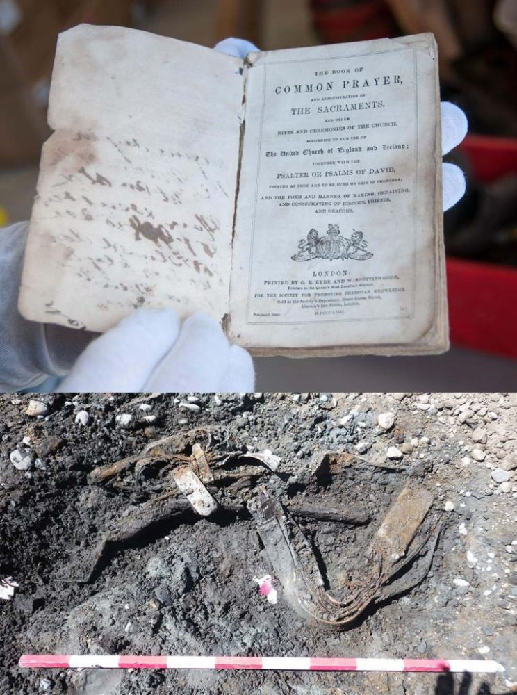 Treasures from the walls AND from the ground! The top photo shows a Book of Common Prayer - found between the walls of a local church. On the left you can see a personal handwritten note, dated 1862. The picture below displays the remains of a horse yoke – mid excavation. This apparatus may have been used to hitch a horse to a carriage or plough.